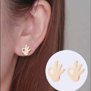 Gold-plated Stainless Steel OK Earrings